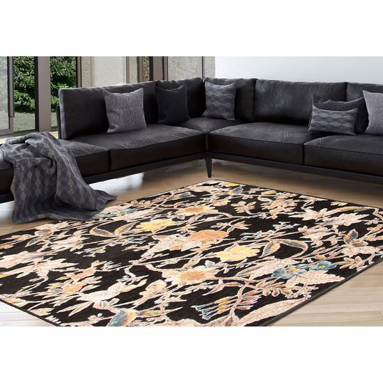 eCarpetGallery Lotus Black Viscose Area Rug