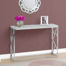 Monarch Specialties Accent Table - Grey Cement with Chrome Metal