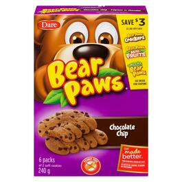 Bear Paws Soft Chocolate Chip Cookies - 240g