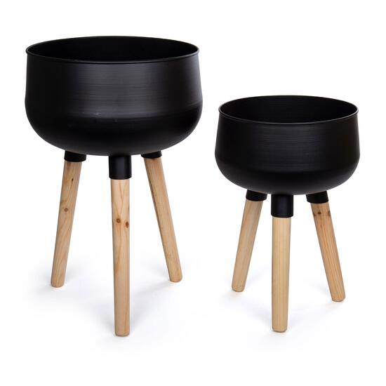 Truu Design Black Large Metal Planters with Wooden Legs - 2pc.