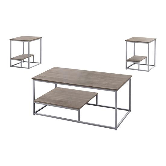 Monarch Specialties Dark Taupe and Black Coffee Table Set - 3pc.