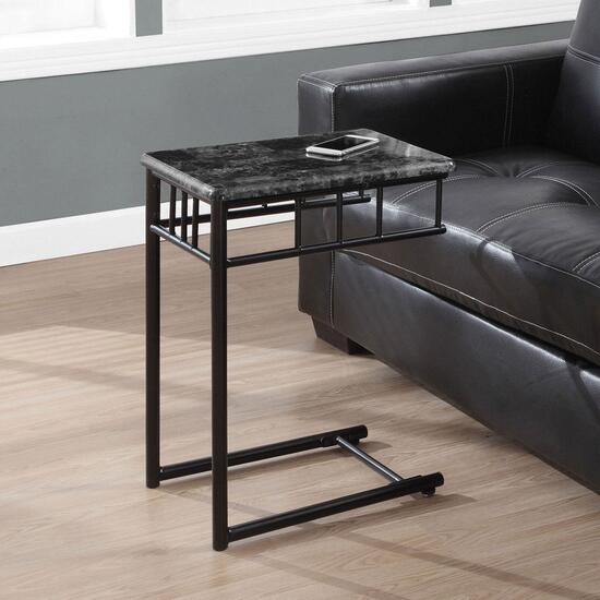 Monarch Specialties Inc. Grey Marble Metal Accent Table