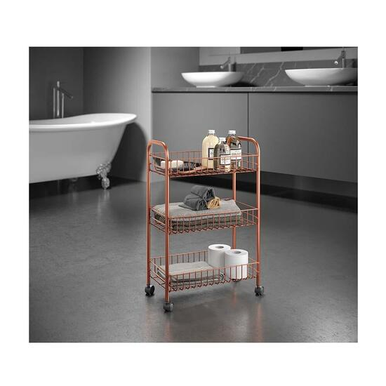 Metaltex Lugano 3 Copper Multipurpose Storage Cart