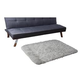 HomeStyles Faux Fur Light Grey Rug - 44in.