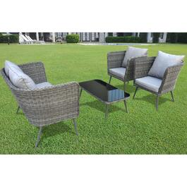Henryka Conversation Patio Set with Aluminum Frame and Cushions- 4pc.