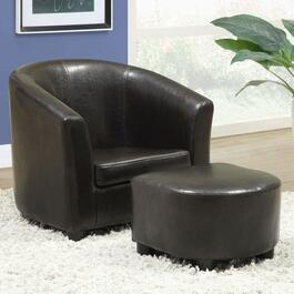 Monarch Specialties Inc. Faux Leather Mini Chair Set - Dark Brown
