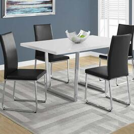 Monarch Specialties Dining Table- White Glossy and Chrome Metal -  36 in. x 60 in.
