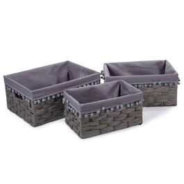 Truu Design Grey Woven Paper Storage Baskets - 3pc.