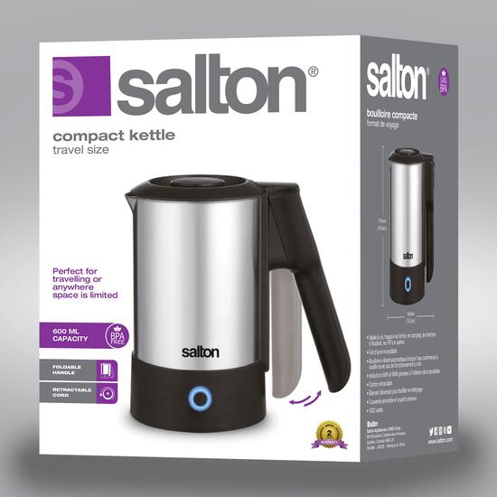 Salton Compact Travel Stainless Steel Kettle
