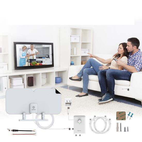 ANTOP HDTV and FM Paper-Thin Antenna with Smart Boost System