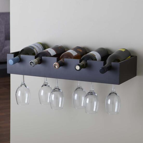 Kiera Grace Ellington Wine Rack and Glass Holder - Black