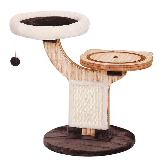 Pet Pals Twine Natural Wood 2-Level Cat Tree