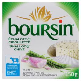 Boursin Fresh Shallot and Chive Soft White Cheese 39% M.F. - 150g
