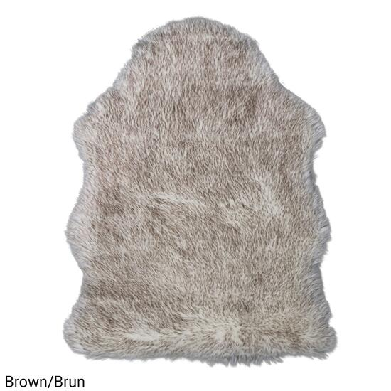 eCarpetGallery New Zealand Brown Faux Sheepskin Plush Accent Rug