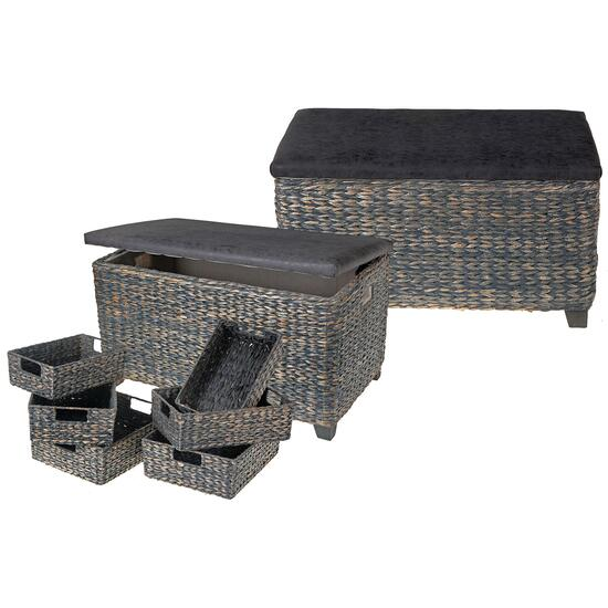 Kian Grey Wicker Ottoman with Storage Baskets - 8pc.