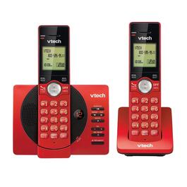 VTech 2-Handset DECT 6.0 Cordless Phones with Answering Machine and Caller ID/Call Waiting - Red
