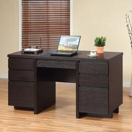 Brassex Dark Cherry Office Desk with 7 Drawers and Built-In Writing Pad