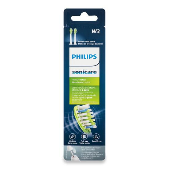 Philips Sonicare W3 Premium White Standard Electric Toothbrush Heads - 2pk.