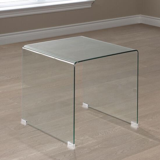 Titus Single Piece Glass End Table with Bevelled Edges