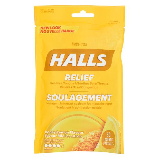 Halls Relief Honey Lemon Lozenges - 30pk.