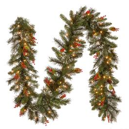 Wintry Pine Garland 100 Clear  Lights - 12in.