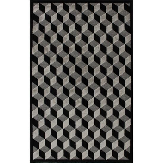 Avocado Décor Black/Grey Valentine Piazza Rug - 2.2ft. x 6.9ft.