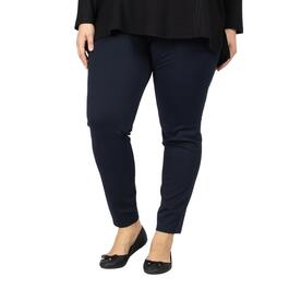 lily morgan Women's Plus Navy Skinny Ponte Pants - 1X-3X