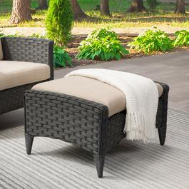 CorLiving Charcoal Parkview Wicker Foot Stool - 29in.