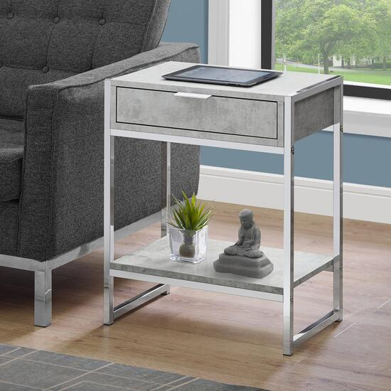 Monarch Specialties 24 in. Accent Table - Grey Cement and Chrome Metal