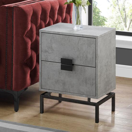 Monarch Specialties 24 in. Accent Table - Grey Cement and Black Nickel Metal