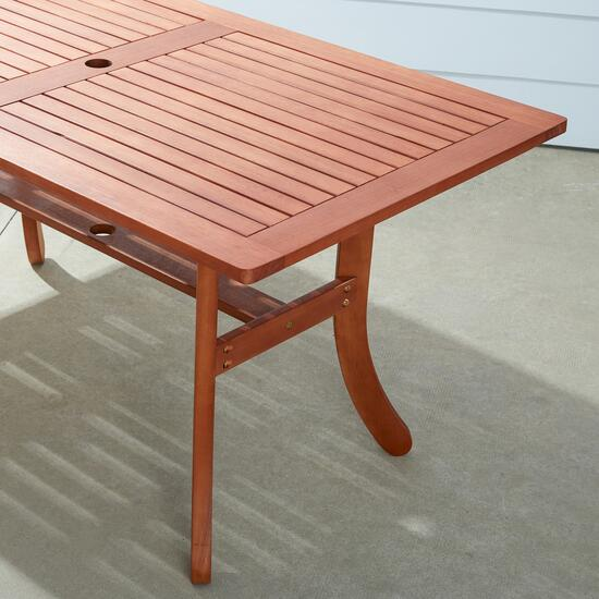 Vifah Malibu Outdoor Patio Rectangular Dining Table with Curved Legs