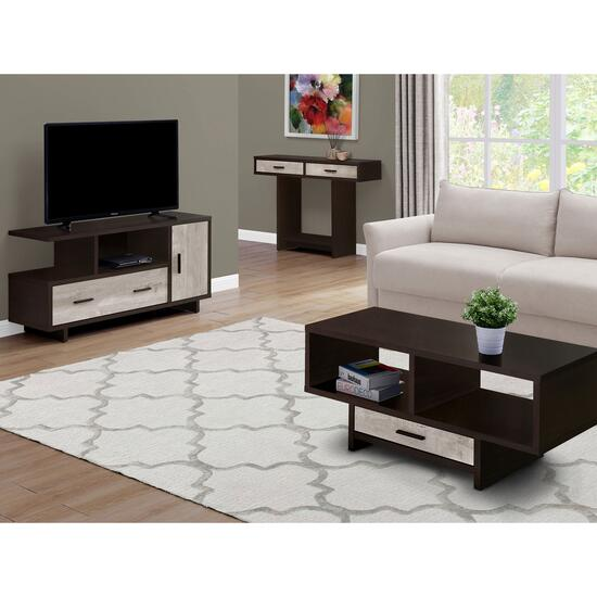 Monarch Specialties Cappuccino Reclaimed Wood Look Coffee Table