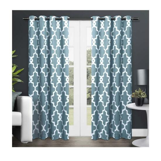 Exclusive Home Teal Ironwork Sateen Woven Room Darkening Window Curtain Panel Pair - 84in.