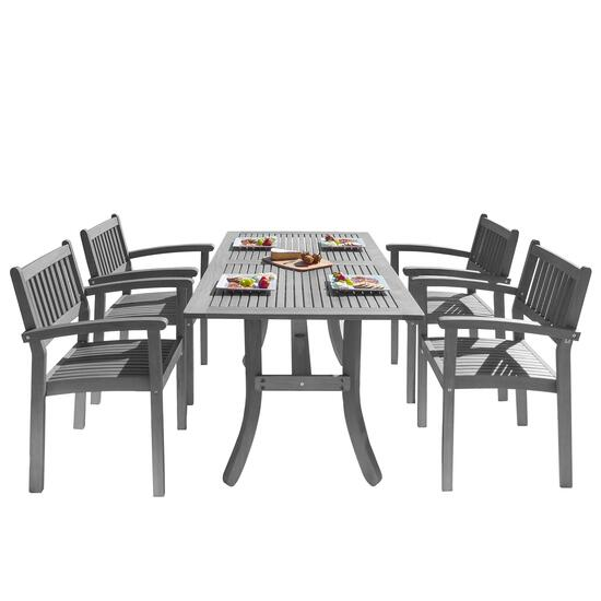 Renaissance Outdoor Patio Hand-Scraped Dining Set with Curved Leg Table - 5pc.