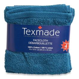 Texmade Blue Facecloths 4pk. - 13in.