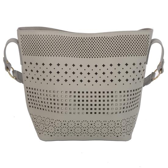 NICCI Grey Stylish Perforated Hobo Bag