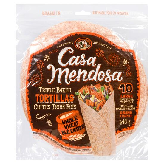 Casa Mendosa Large Whole Wheat Triple Baked Tortillas 10pk - 640g