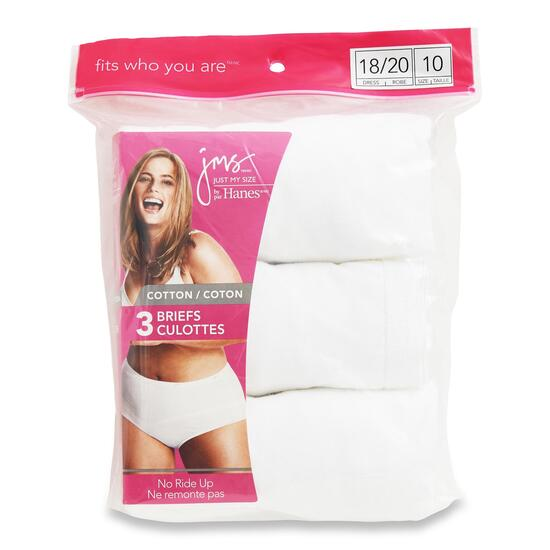 Just My Size Women's Plus White Cotton Briefs 3pk. - 2XL-4XL