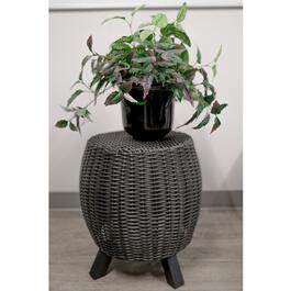 Grapevine Lisa Black Resin Wicker Garden Stool