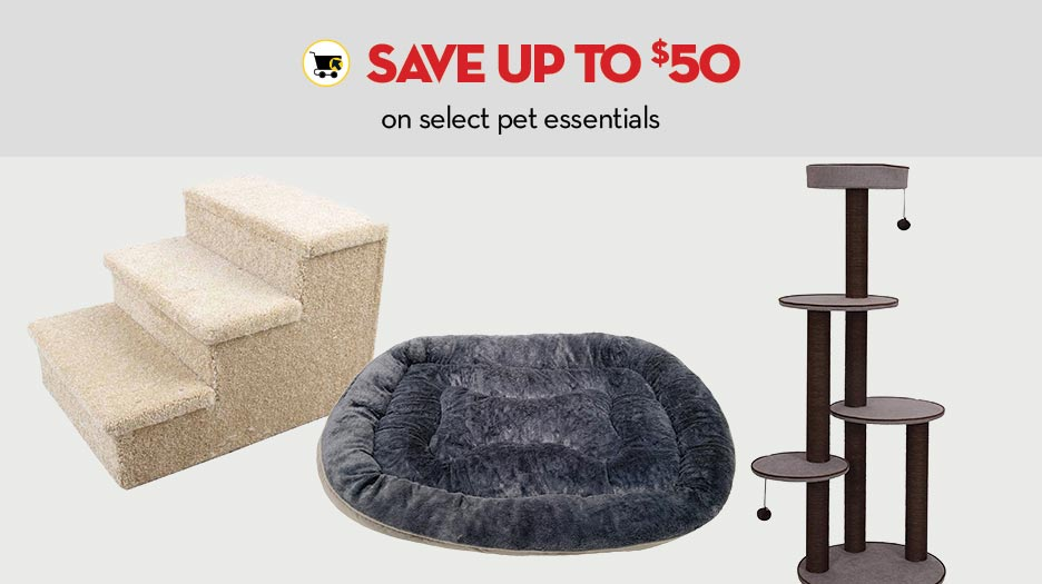 Save up to $50 on select pet essentials