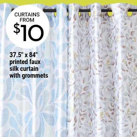 "$10 37.5"" x 84"" printed faux silk curtain with grommets"