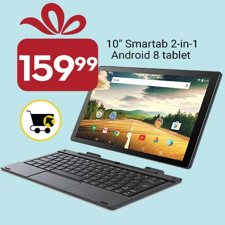 "159.99 10"" Smartab 2-in-1 Andriod 8 tablet"