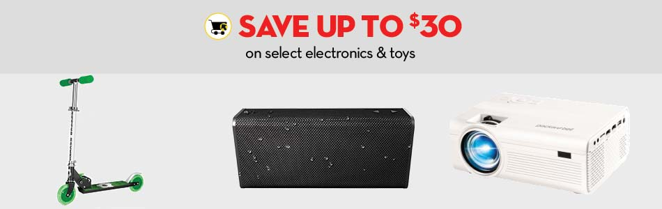 Save up to $30 on select electronics and toys