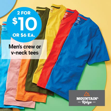 2 for $10 or $6 ea. Mountain Ridge Men's crew or v-neck tees