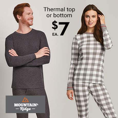 $7 ea. Mountain Ridge Thermal top or bottom