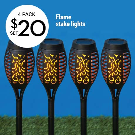 $20 4 pack Flame stake lights