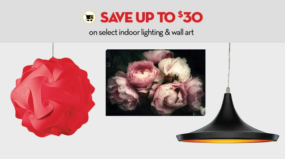 Save up $30 on select indoor lighting & wall art