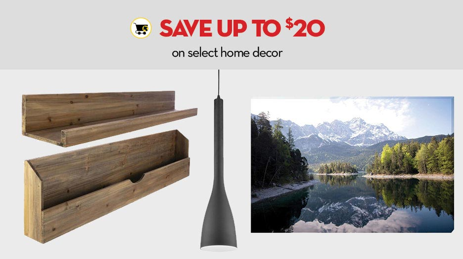 Online only - Save up to $20 on select home decor