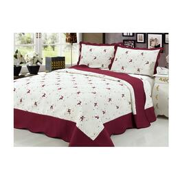 Beauty Sleep Bedding Embroidered Burgundy Quilt Set - Twin