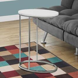 Monarch Specialties Oval Accent Table - Glossy White with Chrome Metal